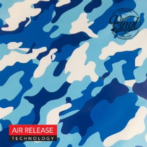 Blue Camouflage Self Adhesive Vinyl Wrap, (flexible with Air Release Adhesive)